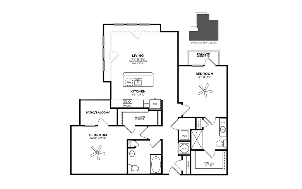 Ansley - 2 bedroom floorplan layout with 2 baths and 1280 square feet.
