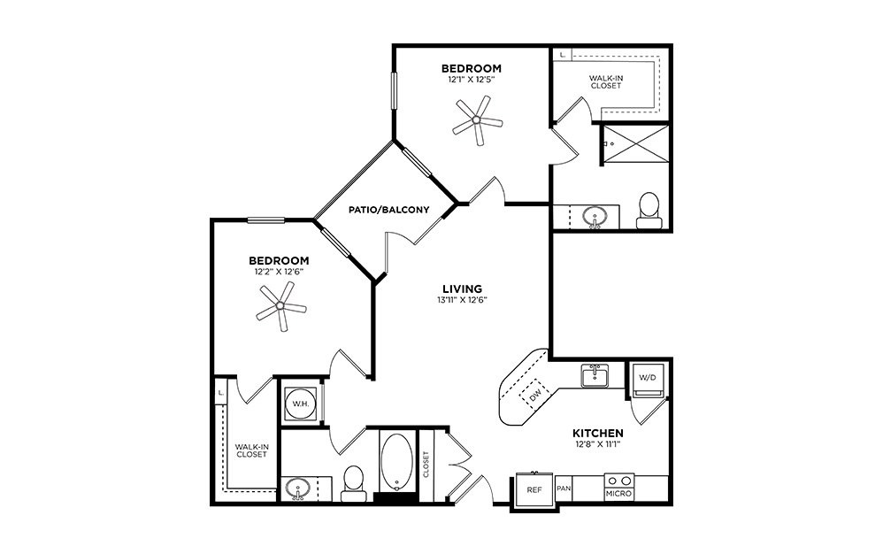 Candler - 2 bedroom floorplan layout with 2 baths and 1030 square feet.
