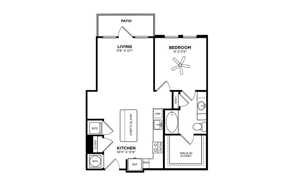 Glenlake - 1 bedroom floorplan layout with 1 bath and 747 square feet.
