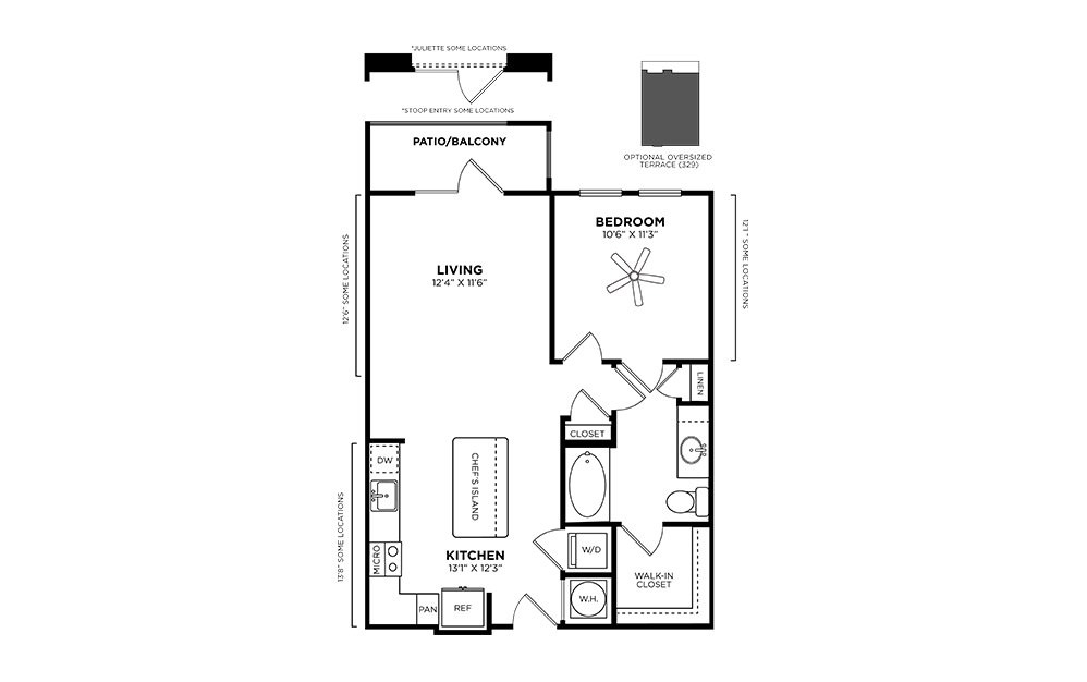 Glenwood - 1 bedroom floorplan layout with 1 bath and 722 square feet.