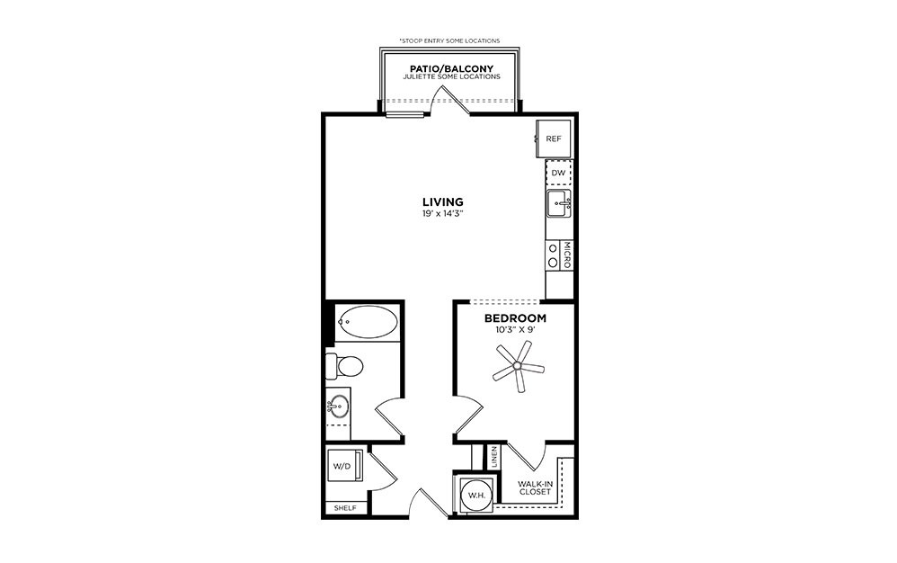Inman - Studio floorplan layout with 1 bath and 630 square feet.