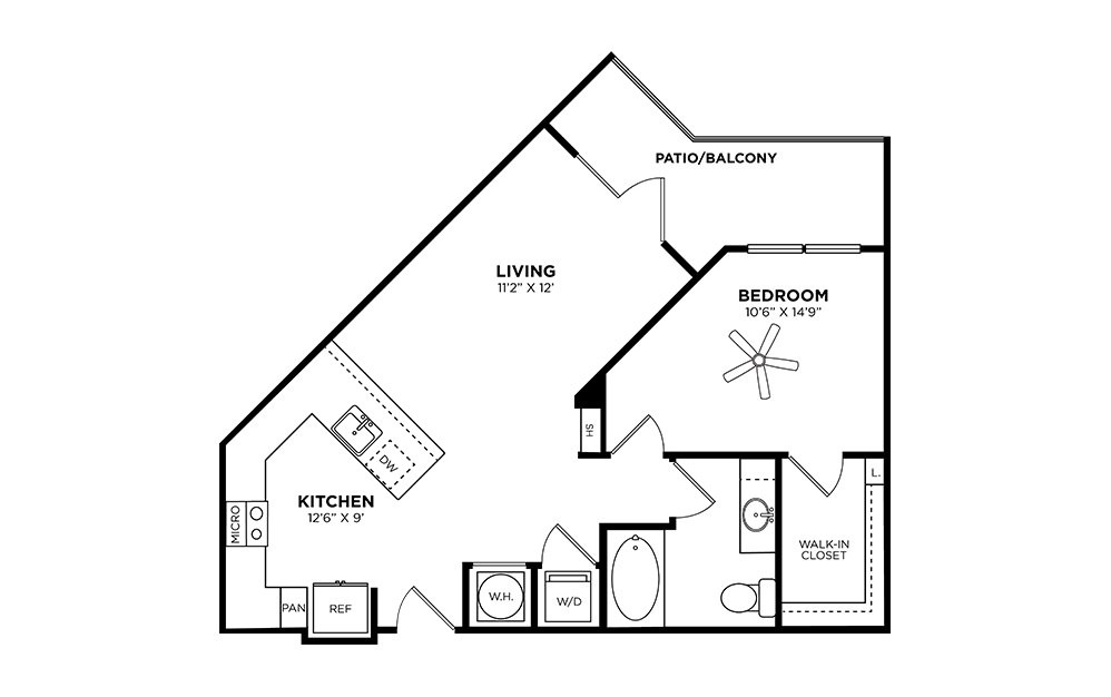 Piedmont - 1 bedroom floorplan layout with 1 bath and 726 square feet.